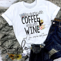 Day Starts With Coffee Ends With Wine T-shirt, Luke Combs Lyrics T-shirt, Raglan, Music Lyrics