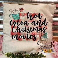 Hot Cocoa and Christmas Movies Pillow Sham, Decorative Pillow Cases, Throw Pillow