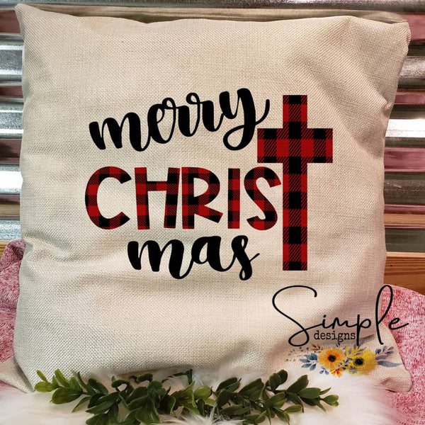 Merry CHRISTmas Plaid Pillow Sham, Decorative Pillow Cases, Throw Pillow