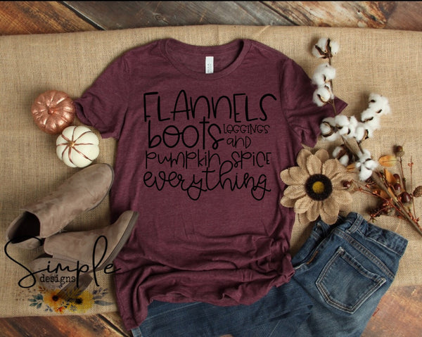 Flannels Boots Leggings and Pumpkin Spice Everything Fall Sale Bella Canvas Tees