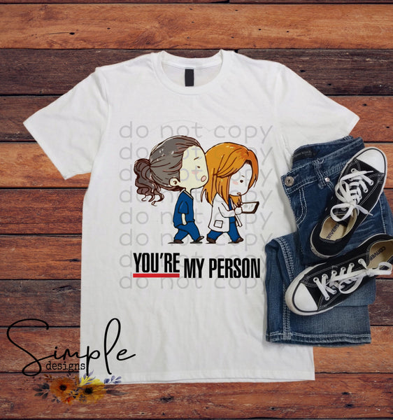 Youre My Person Greys Anatomy Kids Shirt, Onesie, Toddler, Youth Tees, Bodysuit