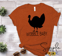 Wobble Baby T-shirt, Thanksgiving Bella Canvas Fall T-shirt Sale