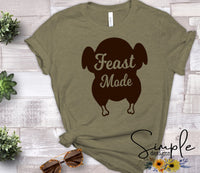 Feast Mode T-shirt, Thanksgiving Bella Canvas Fall T-shirt Sale