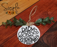 "Baby's First Christmas Hand Lettering Font Ornament, 3"" Round Ceramic Ornament, 3"" Round Aluminum Ornament"