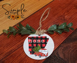 "Buffalo Plaid State Ornament, 3"" Round Ceramic Ornament, 3"" Round Aluminum Ornament"