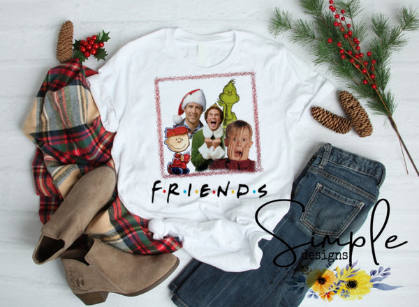 Christmas Friends T-shirt, Long Sleeve Tees, Raglans