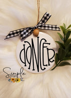 "Dancer Reindeer Names Hand Lettering Font Ornament, 3"" Round Ceramic Ornament, 3"" Round Aluminum Ornament"