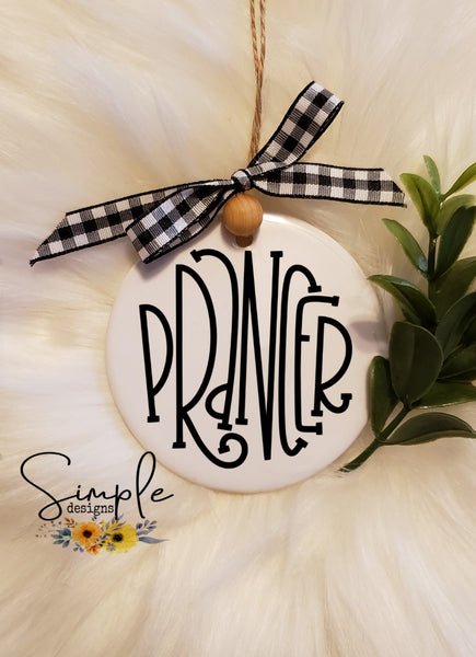 "Prancer Reindeer Names Hand Lettering Font Ornament, 3"" Round Ceramic Ornament, 3"" Round Aluminum Ornament"