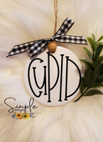 "Cupid Reindeer Names Hand Lettering Font Ornament, 3"" Round Ceramic Ornament, 3"" Round Aluminum Ornament"