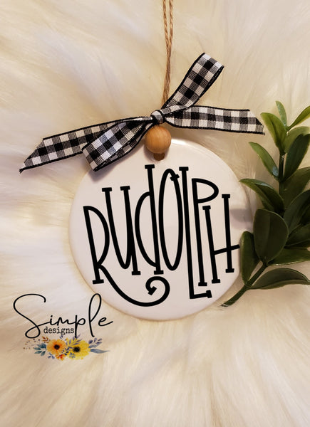 "Reindeer Names Christmas Bundle #2 Hand Lettering Font Ornament, 3"" Round Ceramic Ornament, 3"" Round Aluminum Ornament"