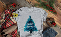 Christmas Tree Shirt, Merry Christmas Blue Tree
