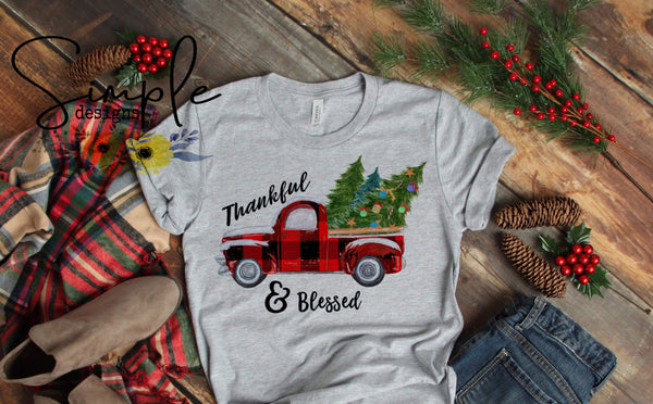 Thankful and Blessed Christmas Tree Shirt, Antique Truck