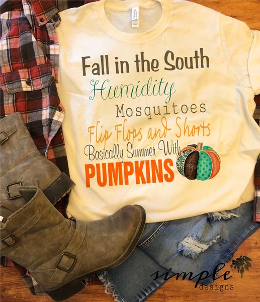 Fall in the South T-shirt, Long Sleeve Tees, Raglans, Fall