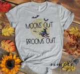 Moons Out Brooms Out T-shirt, Halloween Tees, Fall Raglans