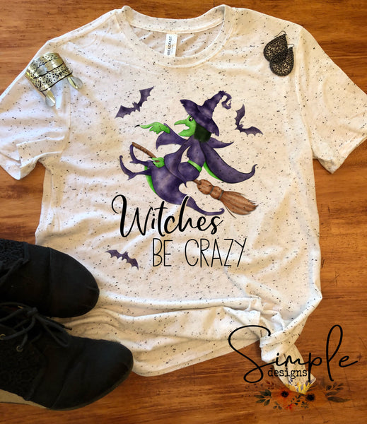 Witches Be Crazy T-shirt, Halloween Tees, Fall Raglans