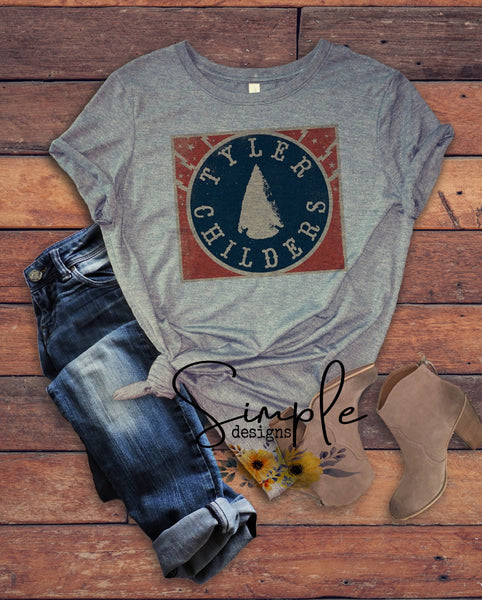 Tyler Childers Arrowhead T-shirt, Country Music Shirts, Kids, Youth, Raglan