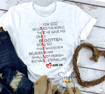 VALENTINE John 3:16 T-shirt, Inspirational, Love Graphic Tees, Custom Raglans