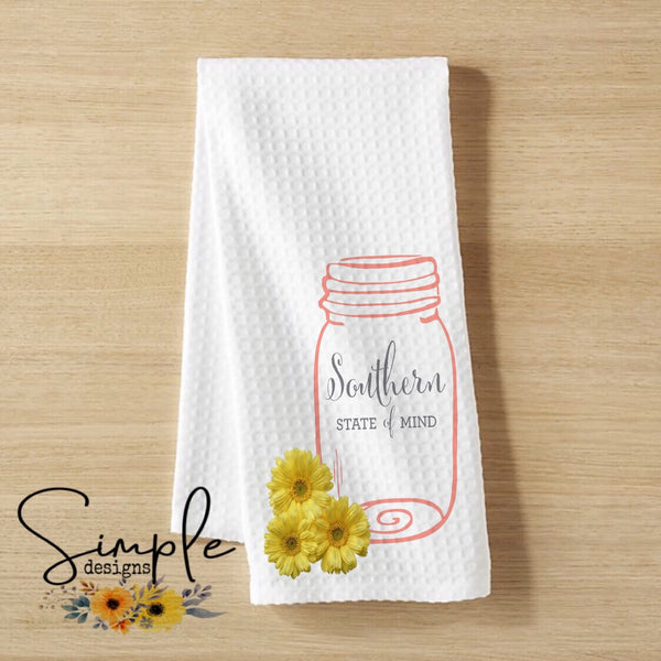 Southern State of Mind Hand Towel, Decorative Kitchen Towel, Personalized