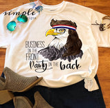 Business in the Front Party in the Back Eagle Mullet T-shirt, Eagle Tee, Eagle with Bandana USA, Red White and Blue