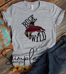 Buck Wild T-shirt, Country Western Graphic Tees, Custom Raglans