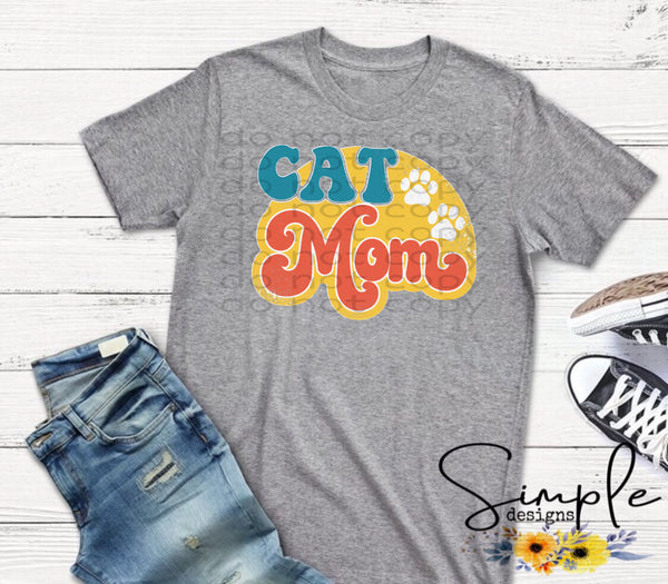 Cat Mom Retro T-shirt, Custom Tees, Tank Tops