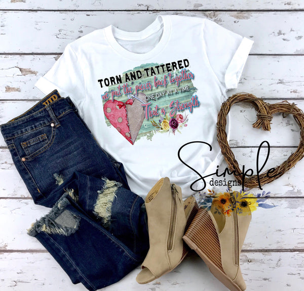 Torn and Tattered Heart T-shirt, Strength