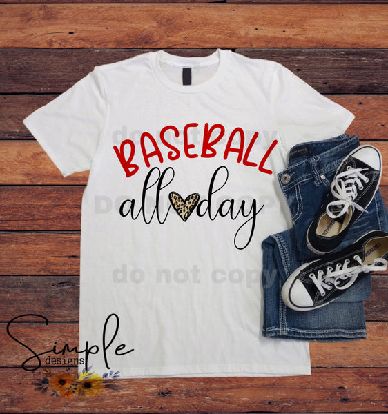 Baseball All Day Leopard T-shirt, Sports, Raglans