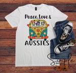 Peace Love and Aussies T-shirt, Australian Shepherds, Pet Shirt, Dog