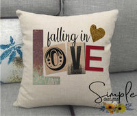 Falling in Love Valentine's Day Pillow Sham, Decorative Pillow Cases, Throw Pillow
