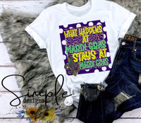What Happens at Mardi Gras Stays at Mardi Gras T-shirt, Mardi Gras, NOLA, New Orleans, King Cake