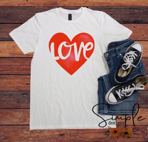 Love Heart T-shirt, Valentines Day, Love Never Fails, Love One Another