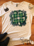 Plaid Clover St Patricks Day, Luck of the Irish, Lucky, Green