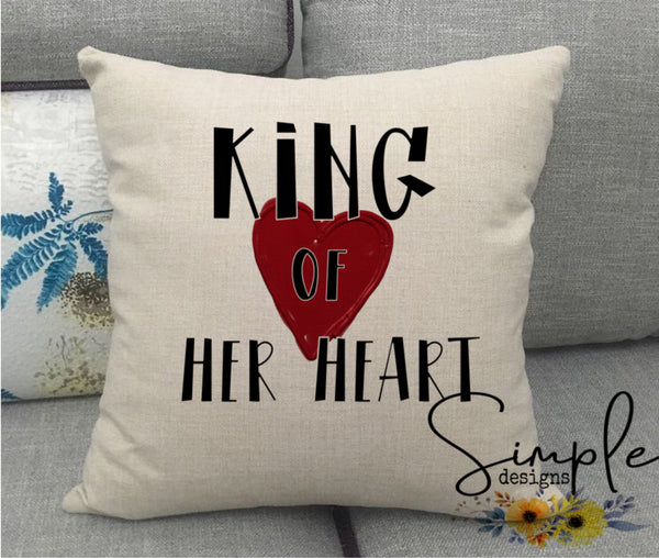 King of Her Heart Valentine's Day Pillow Sham, Decorative Pillow Cases, Throw Pillow