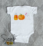 Candy Corn Pumpkin and Ghost Shirt, Onesie, Toddler, Youth Tees, Bodysuit