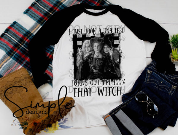 100% That Witch Black and White T-shirt, Halloween Tees, Fall Raglans