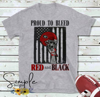 Proud to Bleed Red and Black T-shirt, GA Bulldogs Raglan, GO DAWGS, Fall, Football, Custom Tees, Personalized Teams