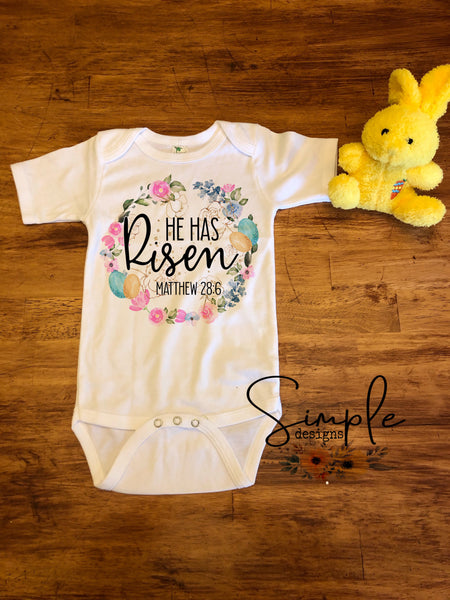 He Has Risen Wreath Custom Youth, Kids, Onesies, Custom Shirts