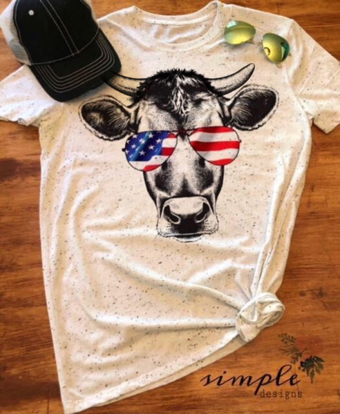 Bull Patriotic Cow T-shirt, Custom Tees, Tank Tops