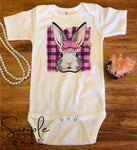 Pink Plaid Bunny Custom Youth, Kids, Onesies, Custom Shirts