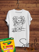 Bunny in Flower Pot Easter Color-It, Washable Marker Designs, Puzzle, Pillow Cases