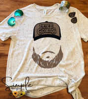 Luke Combs Hat and Beard t-shirt, Country Music Shirts, Kids, Youth, Raglan