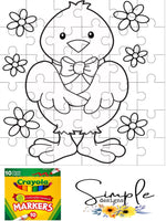 Duck With Flowers Color-It, Washable Marker Designs, Puzzle, Pillow Cases
