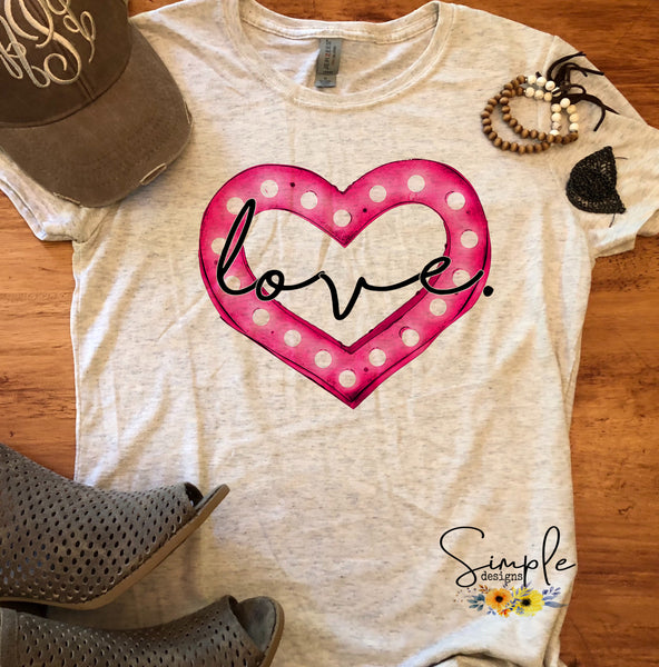 Love Marquee Heart T-shirt, Inspirational, Love Graphic Tees, Custom Raglans