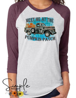 Meet Me at the Pumpkin Patch With Antique Truck T-shirt, Pumpkin Spice Tees, Fall Raglans
