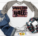 Happy Fall Yall Brushed Design T-shirt, Long Sleeve Tees, Raglans, Fall