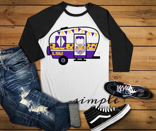 LSU, Louisiana Camper Vintage Football Raglan, Football Shirts, Team Shirts
