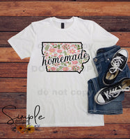 Homemade Floral State T-shirt,