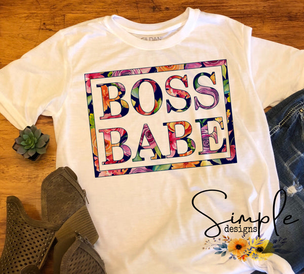 Floral Boss Babe T-shirt, Custom Mom Shirts, Madre, Mother