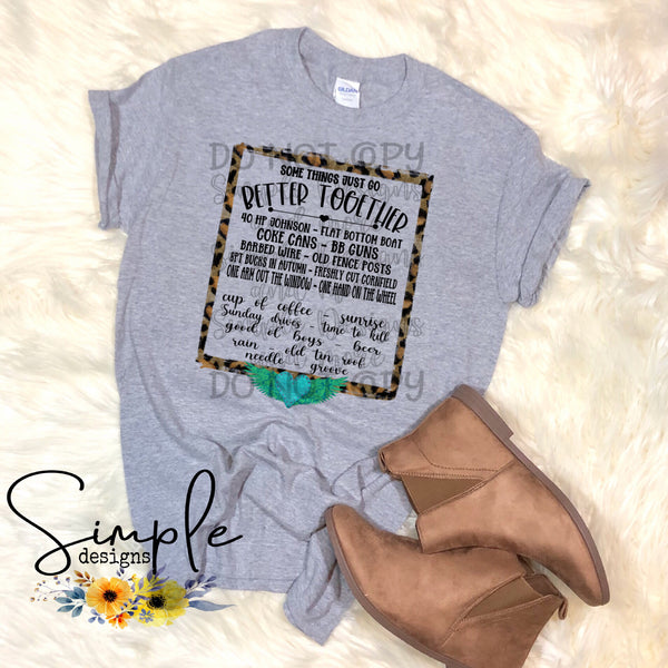 Some Things Just Go Better Together Leopard Frame T-shirt, Country Music Graphic Tees, Custom Raglans
