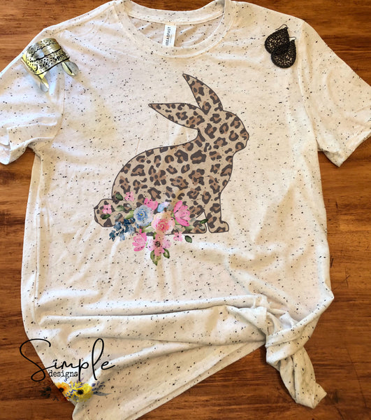 Bunny Side View Leopard Print Custom Easter Shirts, Adult, Kids, Youth